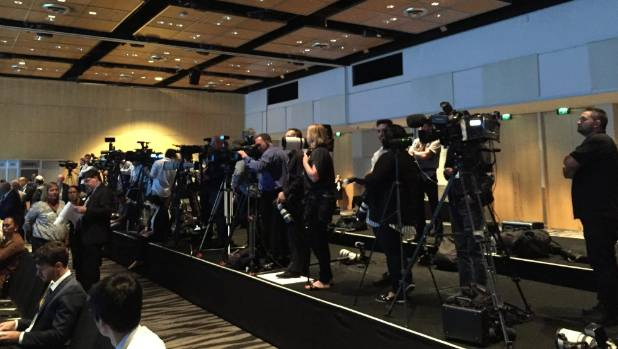The scene inside SkyCity as ministers prepare to sign the TPPA.
