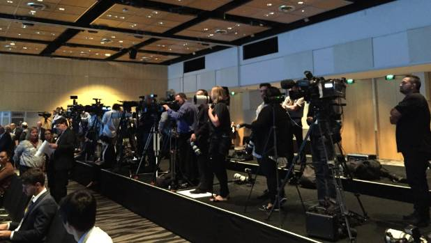 The scene inside SkyCity as trade ministers from 12 nations prepare to sign the Trans Pacific Partnership Agreement.