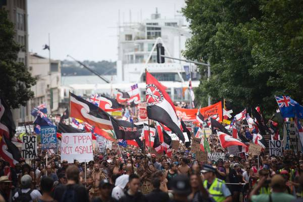 An estimated 10,000 turned out to march in opposition to the TPPA signing.