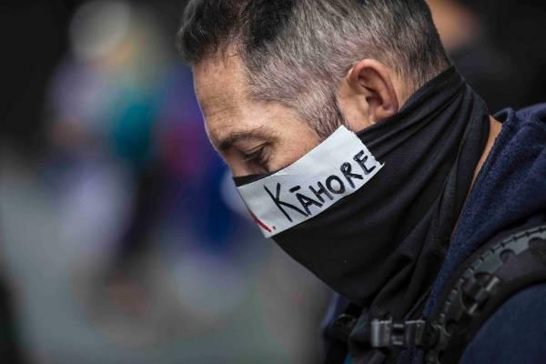 A protester outside SkyCity.