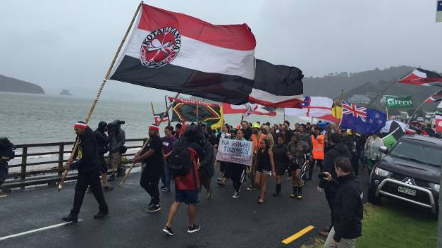 Protesters at a damp Waitangi