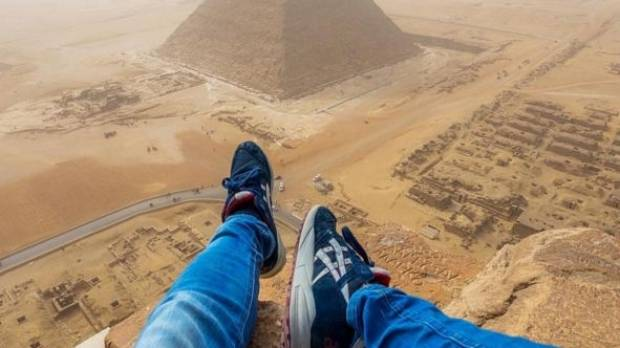 Andrej Ciesielski caused outrage when he climbed the 4500-year-old Cheops pyramid at Giza.