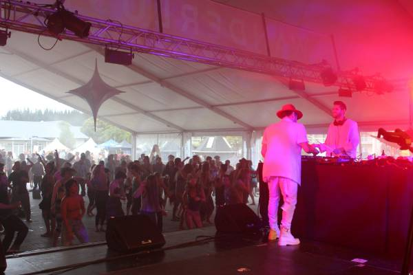 Auckland duo Sweet Mix Kids, aka Sandon James and Chris Scott, warm up the first arrivals to Wanderlust Great Lake ...
