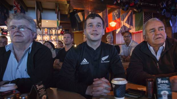 David Seymour is joined by his father, left, and Act party president (right) to watch the All Blacks vs Argentina match ...