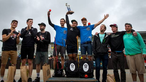 Outlawz Birds celebrate winning the final of the World Hardcourt Bike Polo Championships in Timaru. From left: Call Me ...