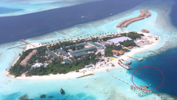 The Island where the restaurant will be placed under the water. Its future position is circled in red.