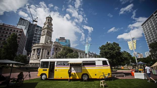 The 1978 Bedford school bus-turned-Moustache Milk & Cookie bus parked up in Auckland's Aotea Square.