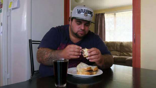 Steak enthusiast Nat How, before the bariatric surgery which means he has to follow a heavily restricted diet.