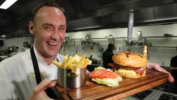Charley Noble head chef Darren Shead with 2015's winning burger for Wellington on a Plate.