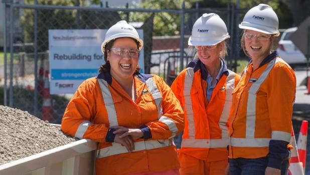 Liz Abey, left, Sarah Fitzpatrick and, Kimberly deVries work in what are traditionally male dominated jobs and love it.