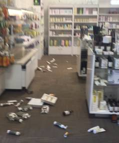 Items fell off the shelves at a chemist in Christchurch.