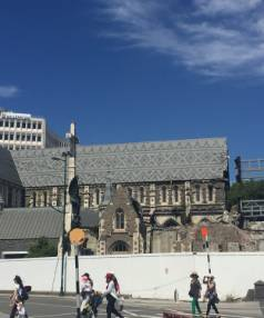 More of the ChristChurch Cathedral facade has fallen away.