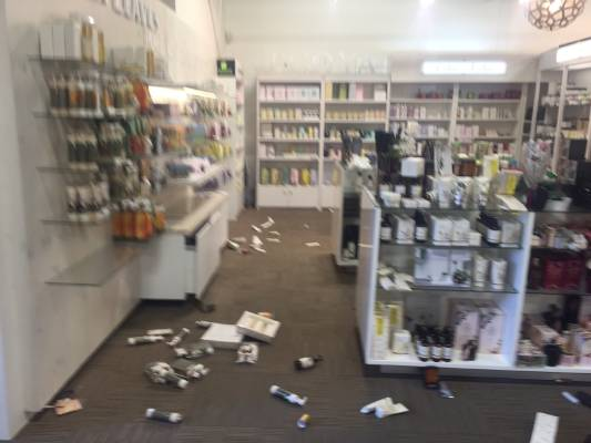 Items were thrown from the shelf in this store during Sunday's earthquake in Christchurch.