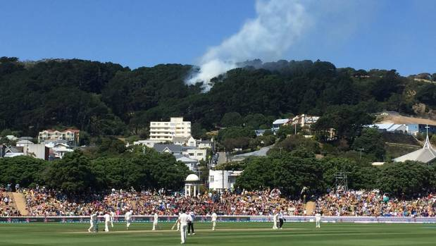 The fire is visible from the Basin Reserve.