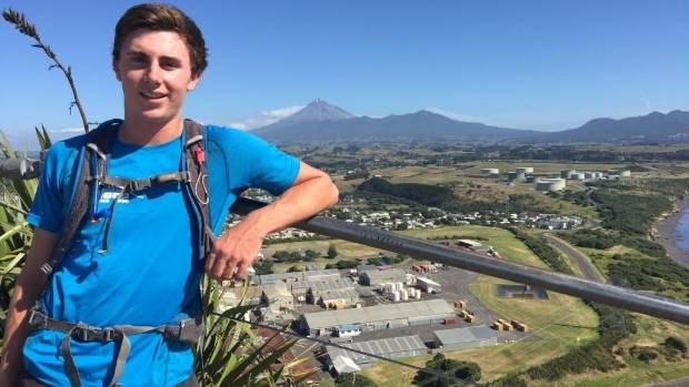 Shaun Palmer at the top of Paritutu rock.