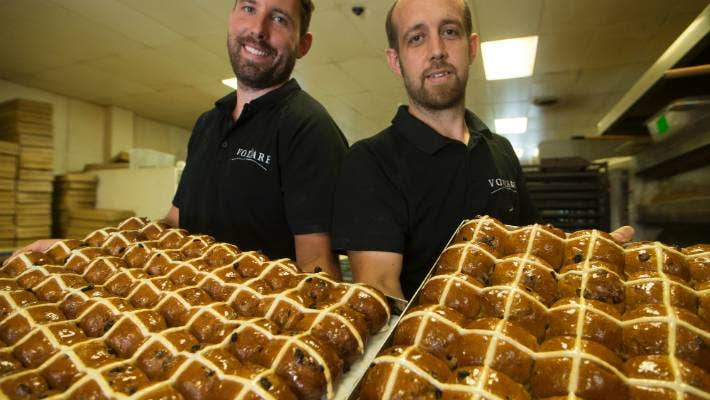 Best buns in the busines: Eddie Hemming (left) and Ryan Simmons have won gold at the The Great New Zealand Hot Cross Bun Competition.