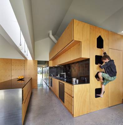 A timber-clad box accommodating kitchen cabinets appears as a large box inserted into the space. Steps lead up to a snug ...