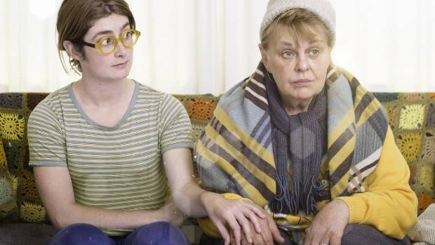 Wellington actresses Lauren Gibson (left) and Ginette McDonald star in The ACB with Honora Lee, in which McDonald plays ...