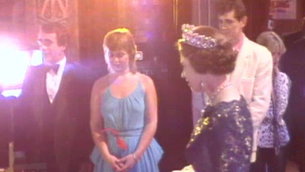 """The Queen walks past Ginette McDonald, aka Lyn of Tawa, as she has a ''private audience"""" with performers following he ..."""