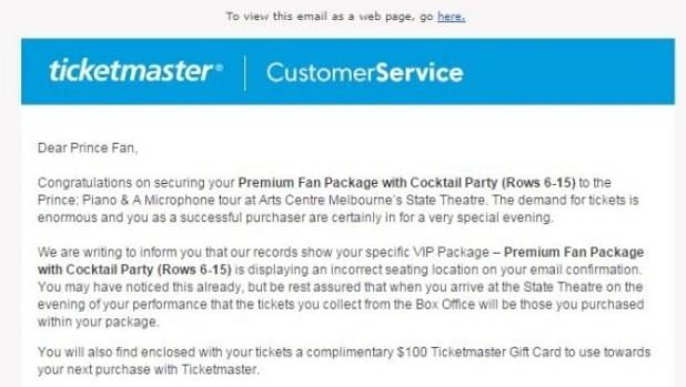 Princes 815 vip ticket holders stunned by ticketmaster seating a ticketmaster spokesperson blamed the glitch as a human error and said vip ticket holders would m4hsunfo