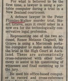 The trial for the murder of Peter Plumley-Walker was believed to be the first time a portable computer was used in a New ...
