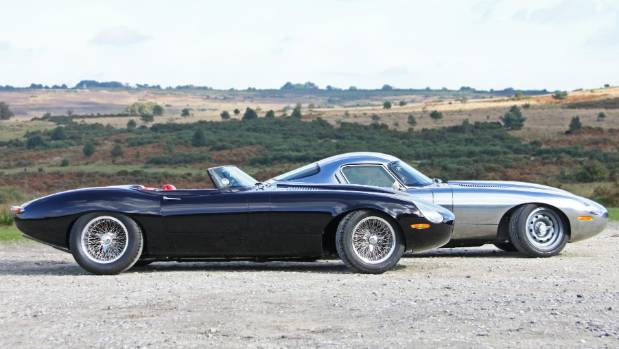The first two vehicles of Eagle E-Type's trilogy, the Eagle Speedster and the Eagle Low Drag GT.