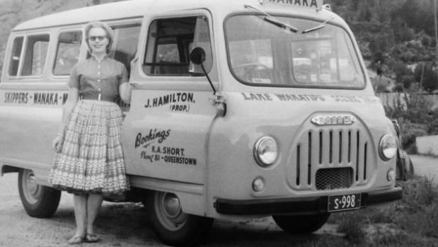 Joan Hamilton ran a tourist bus service at Lake Wakatipu in the 1960s.