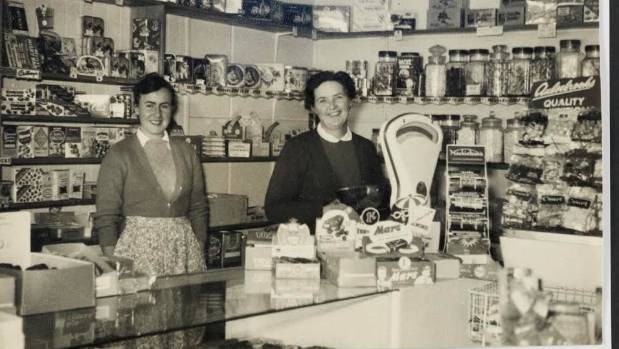 Rona Armstrong at the family shop in New Plymouth, 1957.