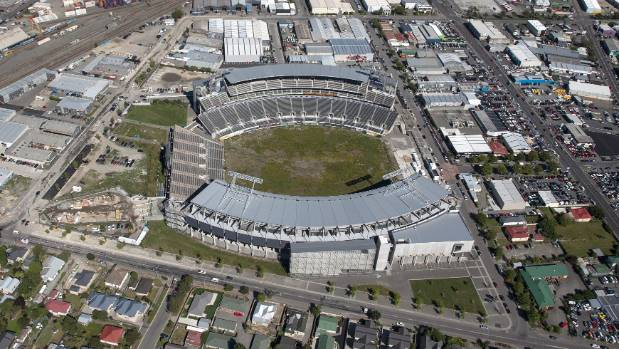 Christchurch's earthquake-damaged Lancaster Park in February.