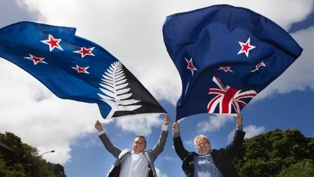 Porirua mayor Nick Leggett, left and Hutt mayor Ray Wallace with their flag of choice ahead of the coming flag referendum.