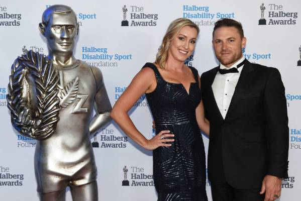 Brendon McCullum with his wife Ellissa on the red carpet at the 53rd Halberg Awards.