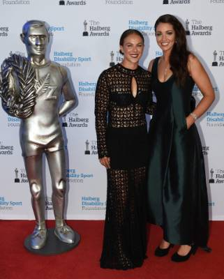 Lisa Carrington and Sarah Walker on the red carpet at the 53rd Halberg Awards.