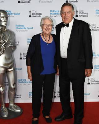 Rugby legend Sir Colin Meads and his wife Verna arrive at the Halberg Awards.