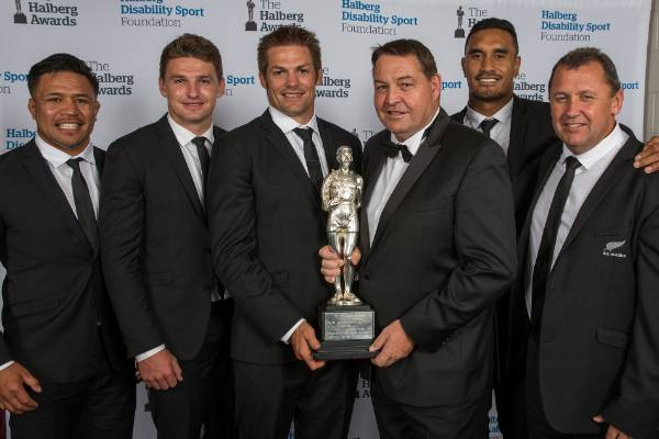 Members of the All Blacks after claiming the Supreme Halberg Award.