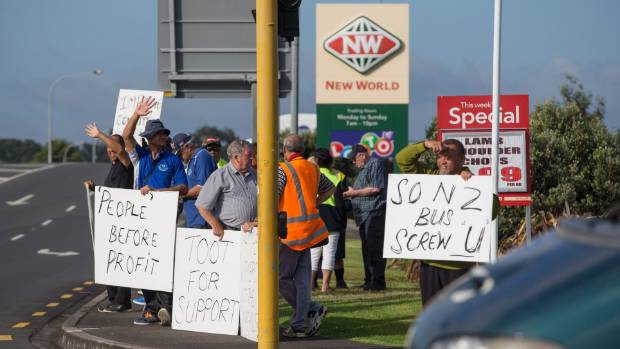 Auckland bus drivers protesting over pay and working conditions.