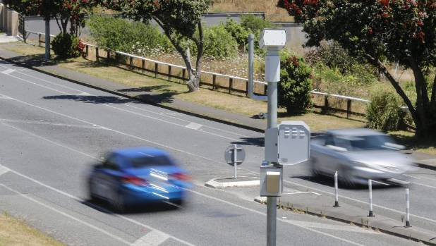 NZ's top revenue gathering speed camera, on Whitford Brown Avenue, Porirua.
