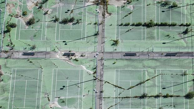 Wilding Park's broken tennis courts on the edge of the residential red zone.