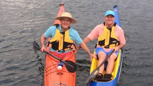 """Sir John and Australian Prime Minister Malcolm Turnbull share a """"bromance"""" moment canoeing on Sydney Harbour"""