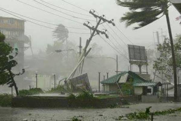 An image, reported to be from the northern side in Vanua Levu, the second-largest island in Fiji, showing the damage ...
