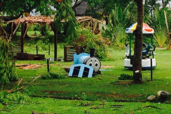 Damage to a children's play area on Denerau Island.