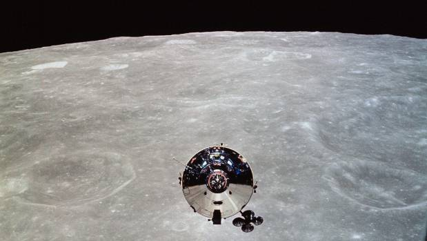 The Apollo 10 command module Charlie Brown seen from the lunar module Snoopy after separation in lunar orbit.