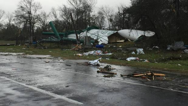 Debris from a damaged water tower west of New Orleans, Louisiana.