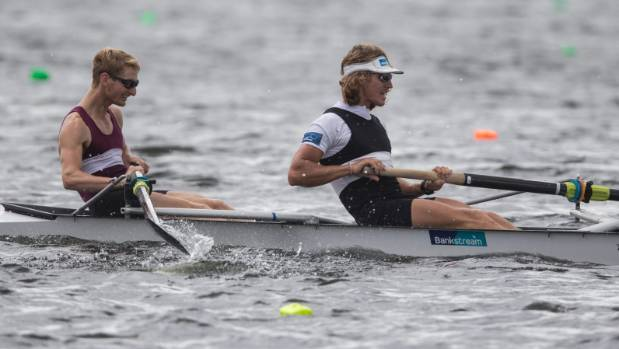 James Hunter (left), in his Wellington Rowing Club singlet, partners Tom Murray to win the mens premier pair at rowing ...