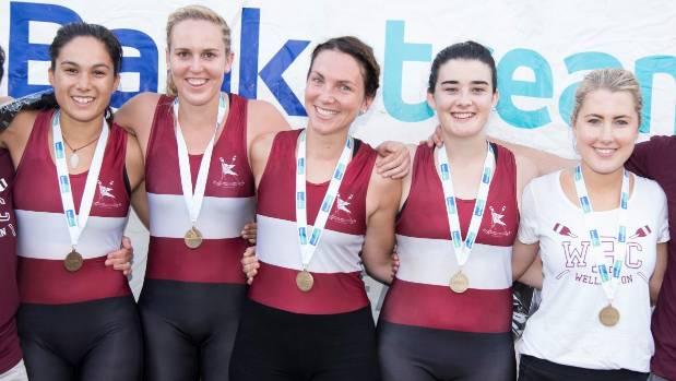 Valerie Chan, Laura-Meg McGlone, Bernadette Fischer, Vanessa McCormack and Breidi McDonald (cox) receive their medals ...