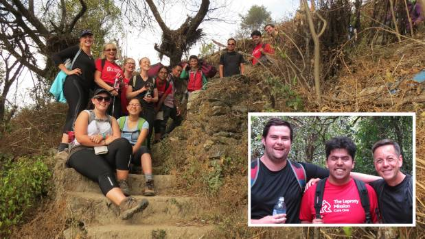 The Leprosy Mission NZ youth ambassadors visited Nepal. INSET: Alexander Kuch of Gulf Harbour was among the group of seven.