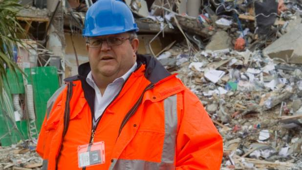 Earthquake Minister Gerry Brownlee during a media tour of the Christchurch CBD red zone.