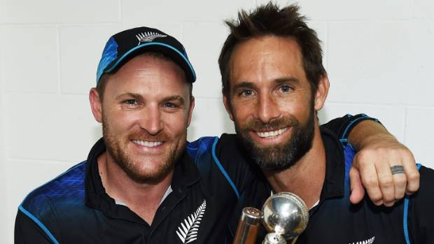 Black Caps captain Brendon McCullum with Cricket World Cup semifinal hero Grant Elliott.