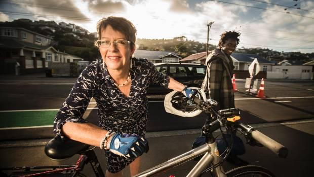 Wellington Mayor Celia Wade-Brown riding the controversial cycleway in Island Bay.