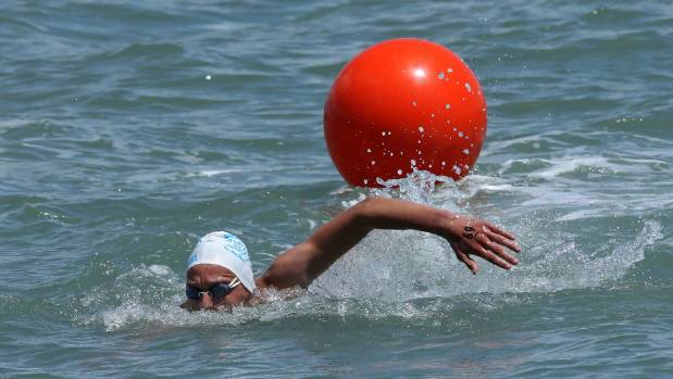 Thomas Heaton won the latest Port Nelson Sea Swim Series race in just 6min 46sec.