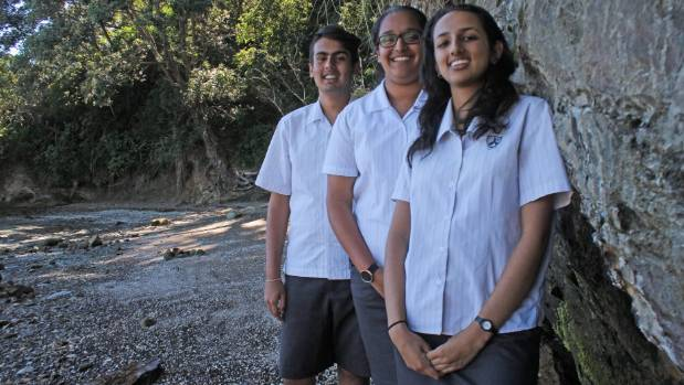 Lynfiled College students Dave Sharma, Irisha Inamke and Shahin Najak are ready to get stuck in and clean up the ...